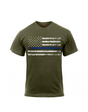 Tričko THIN BLUE LINE US vlajka ZELENÉ