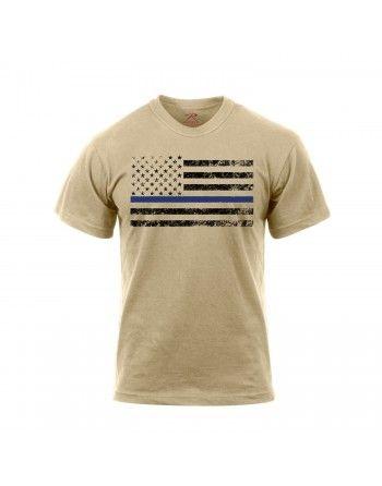 Tričko THIN BLUE LINE US vlajka Khaki