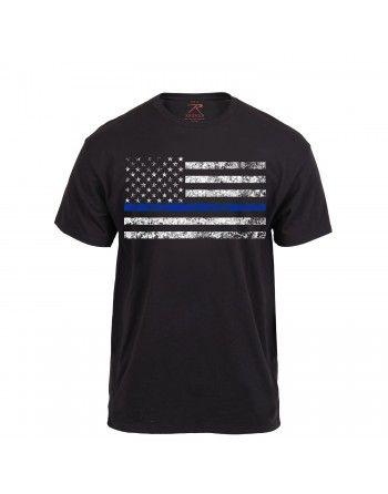 Tričko THIN BLUE LINE US vlajka černé